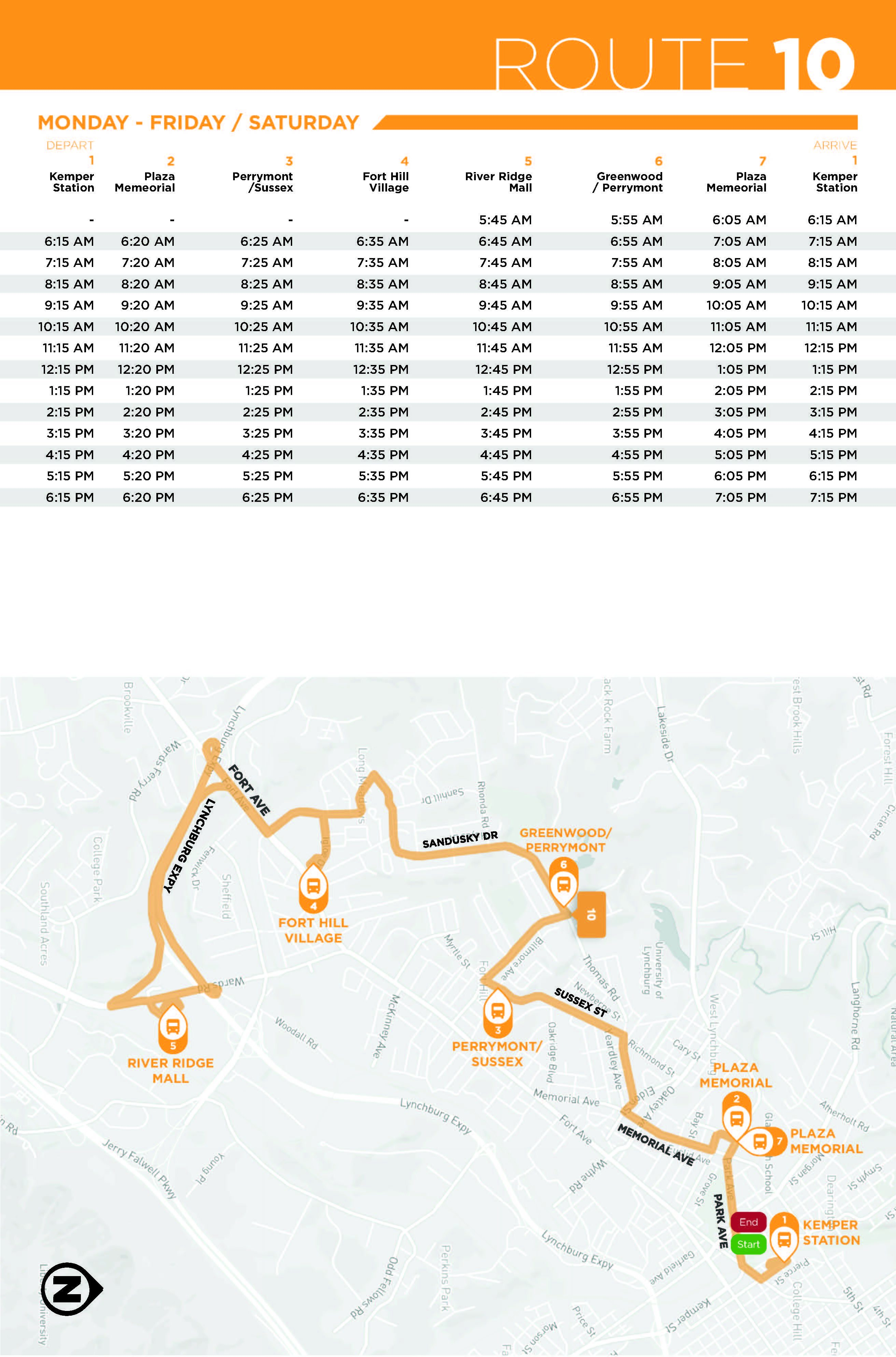 Route 10 Map and Schedule