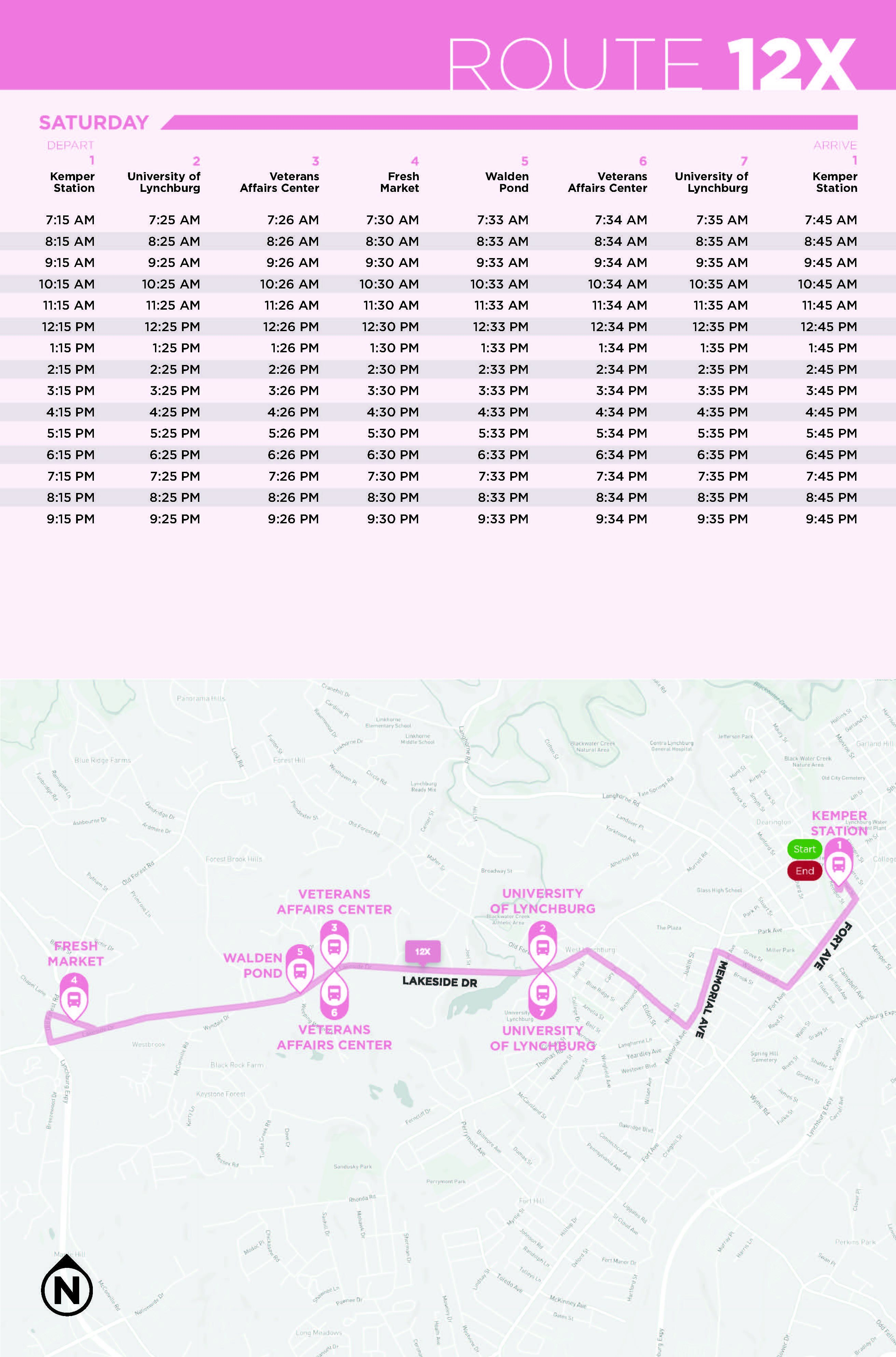 Route 12X Map and Schedule