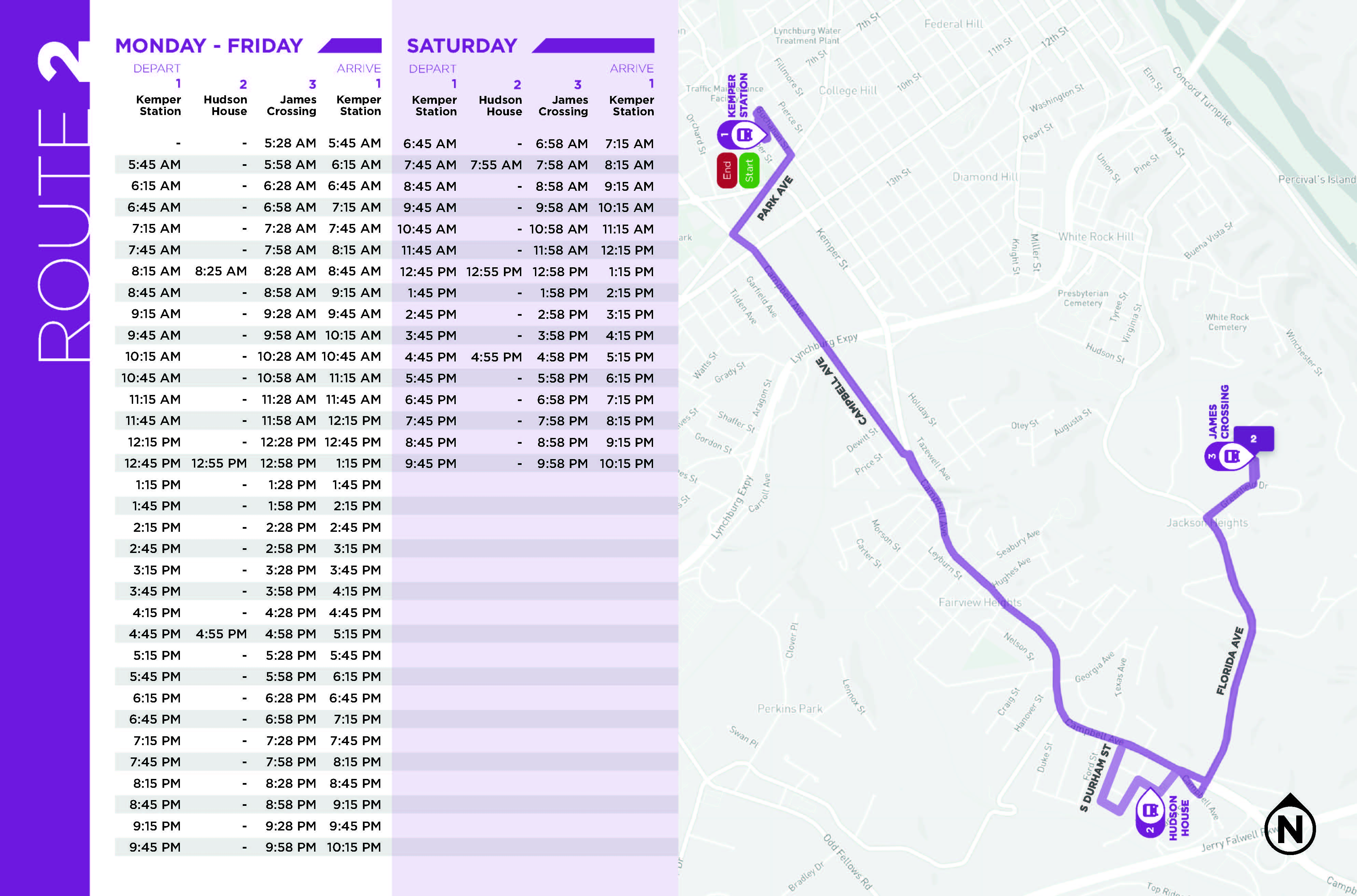 Route 2 Map and Schedule