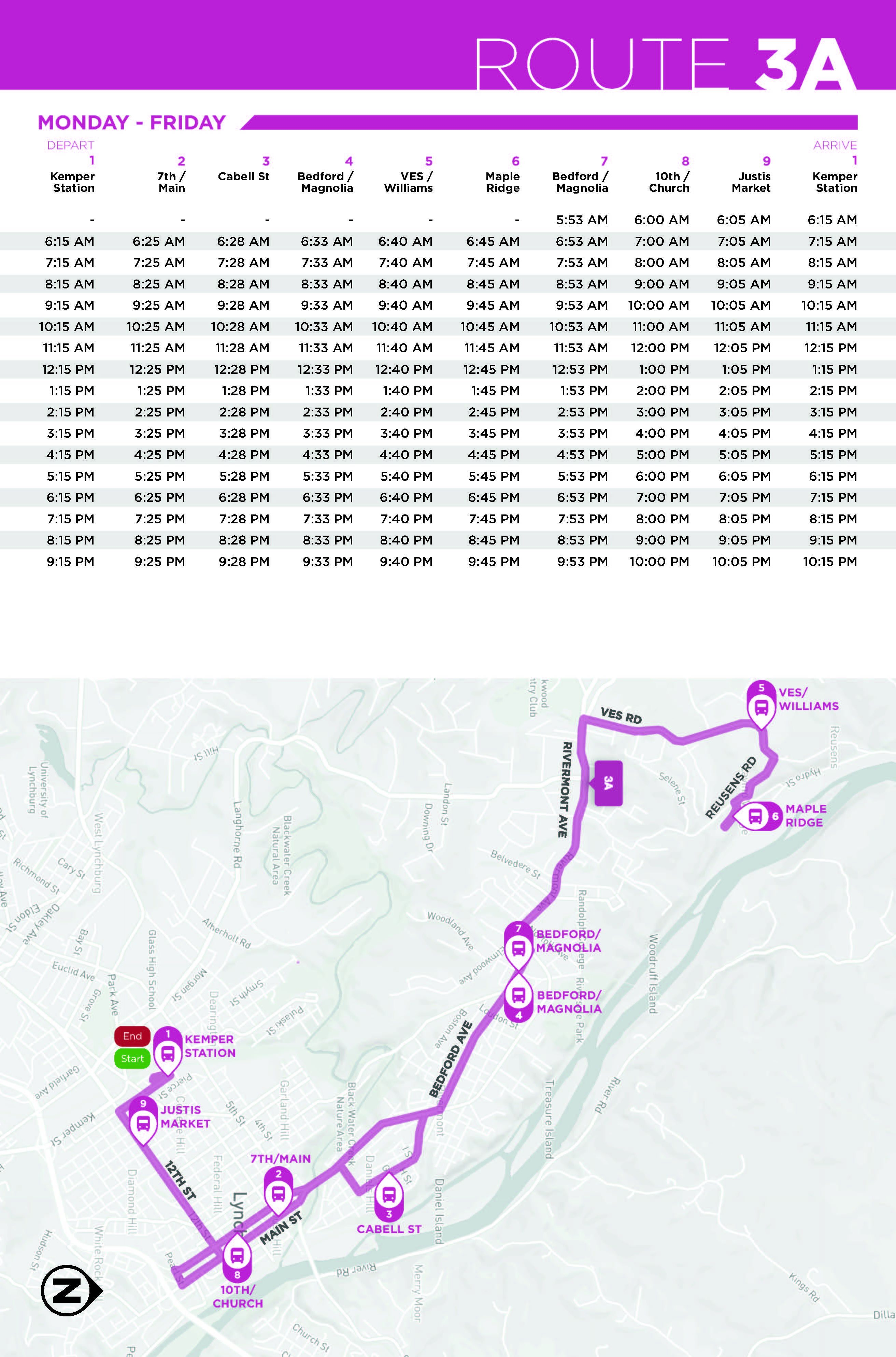 Route 3A Monday - Friday Map and Schedule