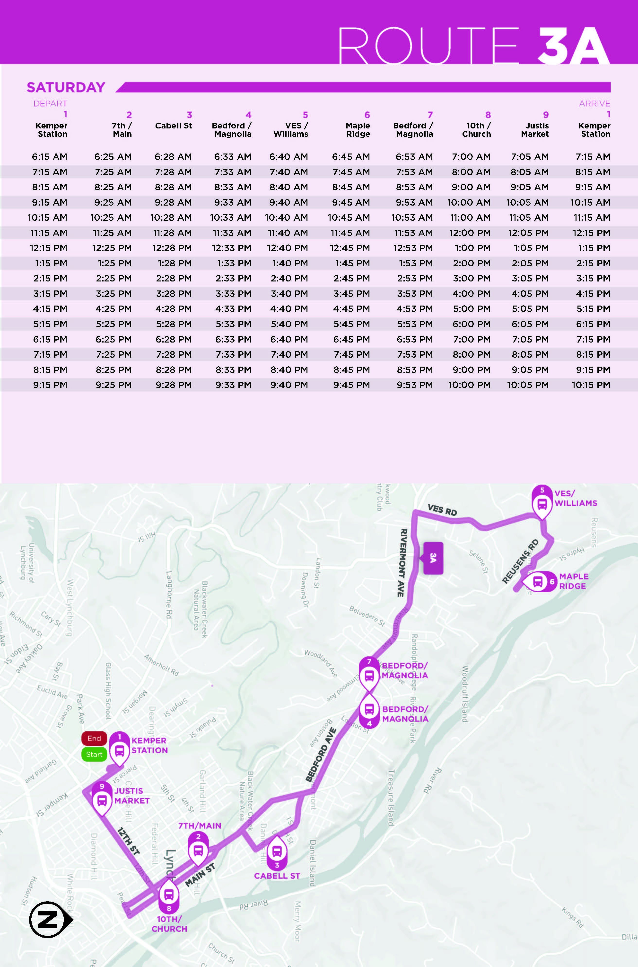 Route 3A Saturday Map and Schedule