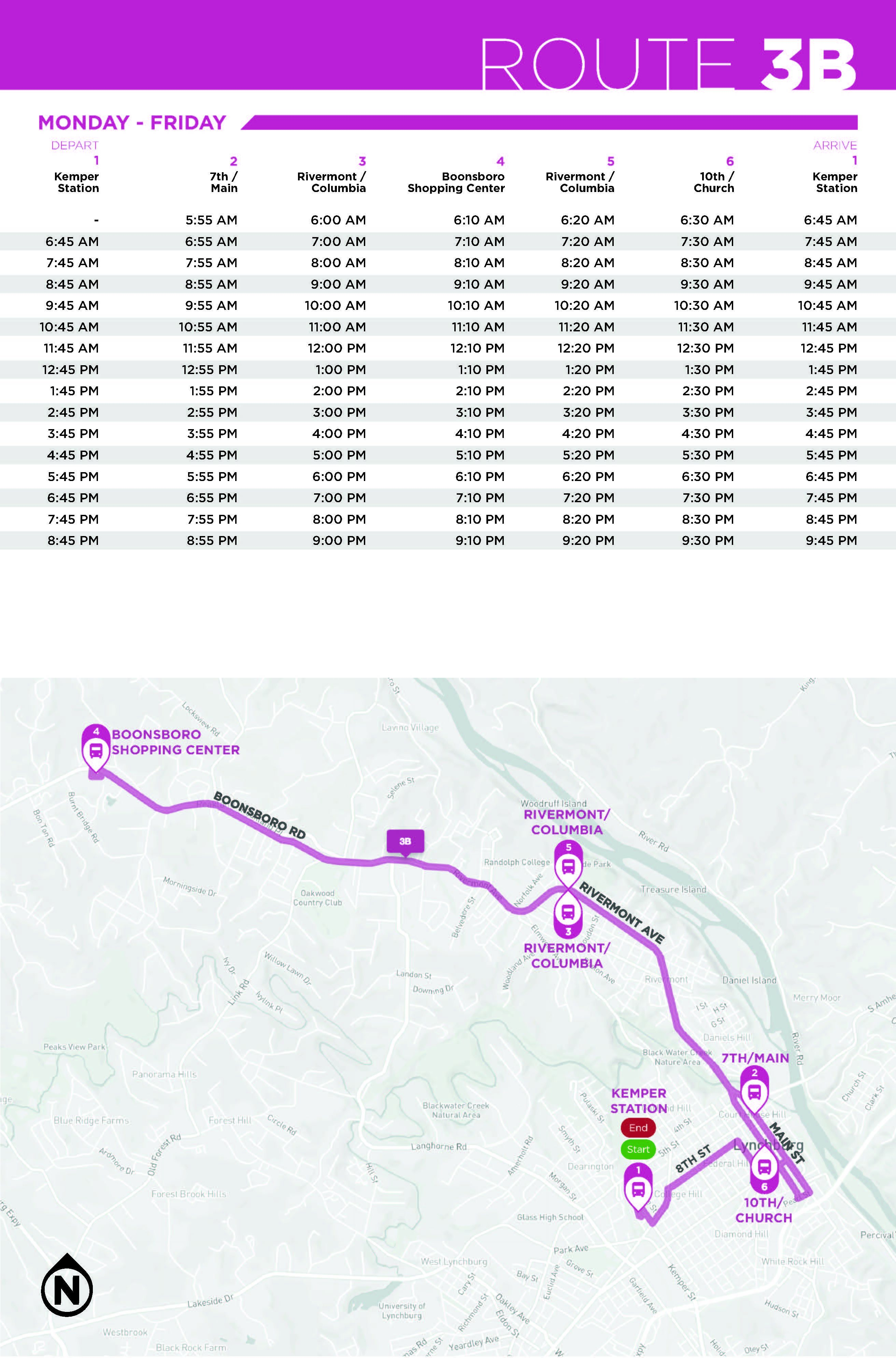 Route 3B Monday - Friday Map and Schedule