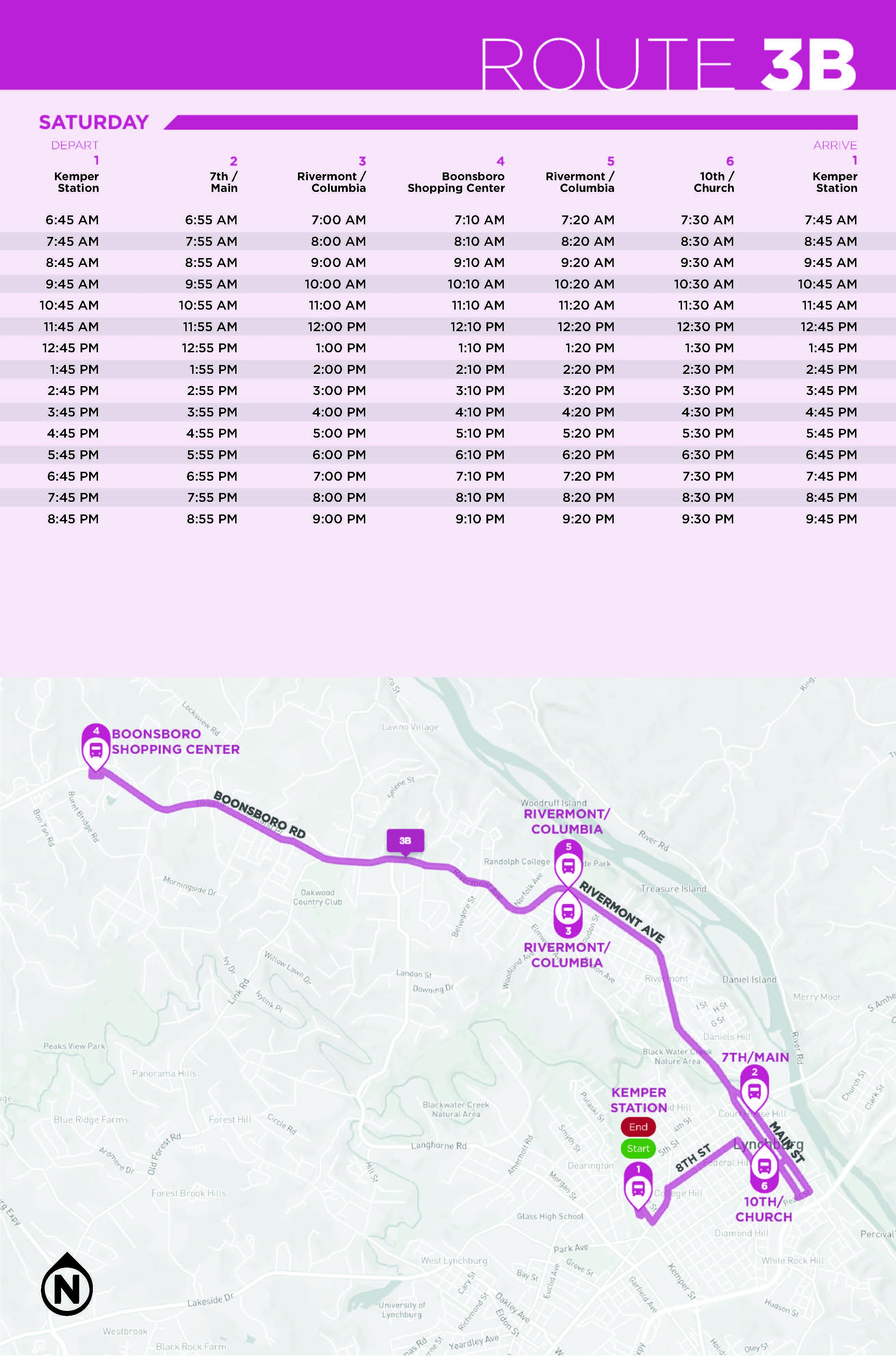 Route 3B Map and Saturday Schedule