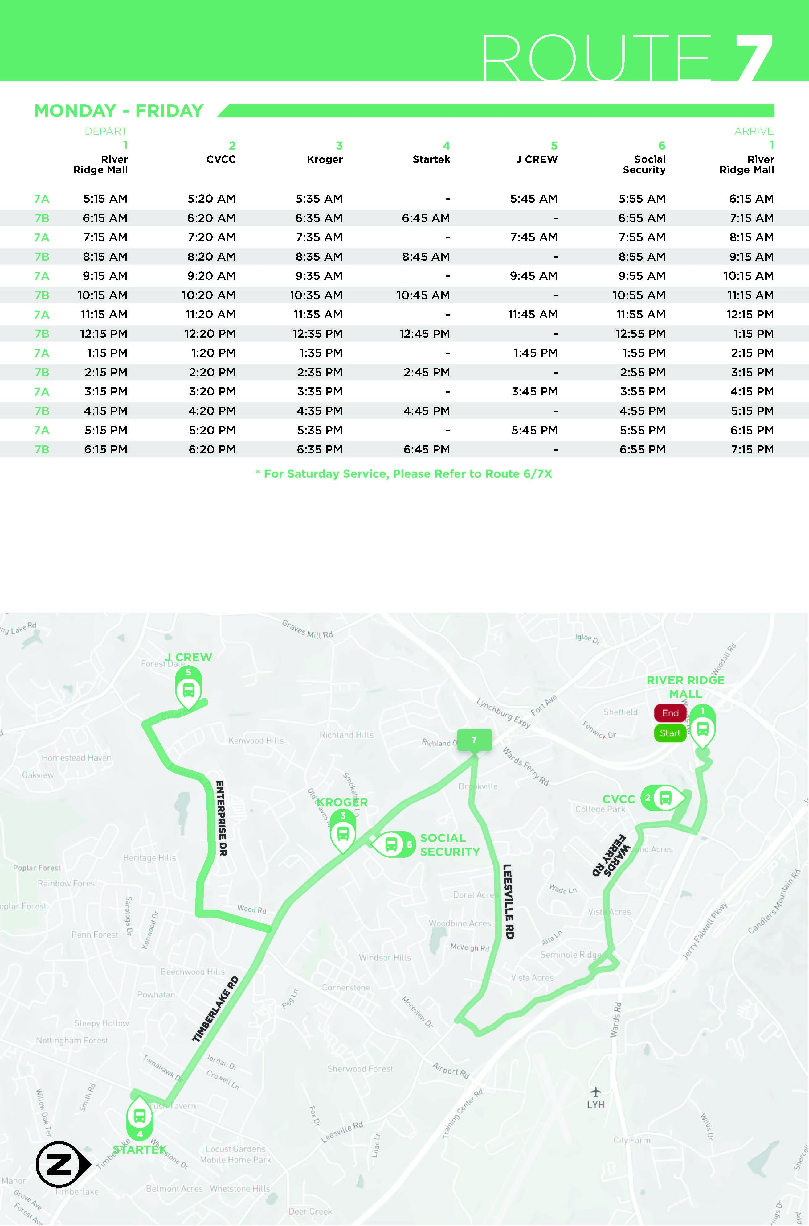 Route 7 Map and Schedule